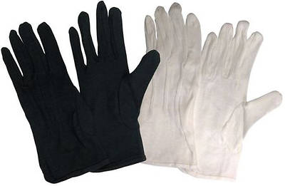 Picture of Cotton Performance without Plastic Dots Handbell Gloves - Black, Small